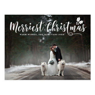 Modern Calligraphy Merriest Christmas Photo Postcard