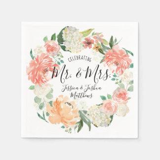 Modern Calligraphy Mr & Mrs Floral Wreath Wedding Napkin