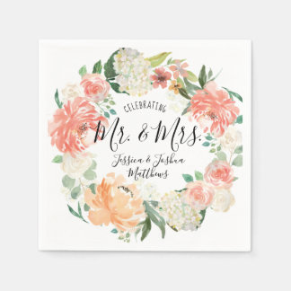 Modern Calligraphy Mr & Mrs Floral Wreath Wedding Paper Napkins