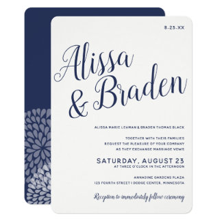 Modern Calligraphy -Navy Blue- Wedding Invitation