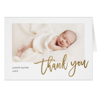 Modern Calligraphy photo baby thank you note Card