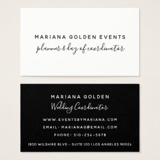 Modern Calligraphy Sophisticated Black and White Business Card