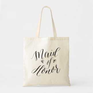 Modern Calligraphy Wedding Party Maid of Honor Tote Bag