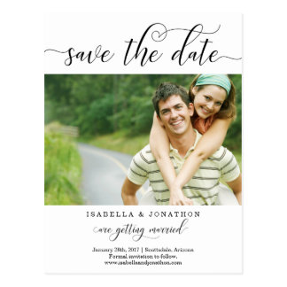 Modern Calligraphy Wedding Photo Save the Date Postcard