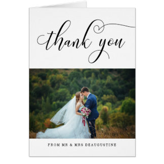 Modern Calligraphy Wedding Photo Thank You Card