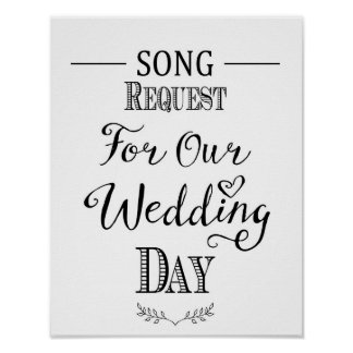 Modern Calligraphy wedding song request print