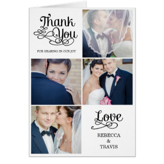 Modern Calligraphy Wedding Thank You Card Black Greeting Cards