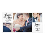 Modern Calligraphy Wedding Thank You Cards Black Photo Card Template