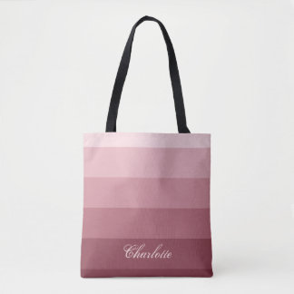 Modern Calm Gradient Rose Red Stripes Custom Name Tote Bag