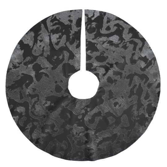 Modern Camo -Black and Dark Grey- camouflage Brushed Polyester Tree Skirt