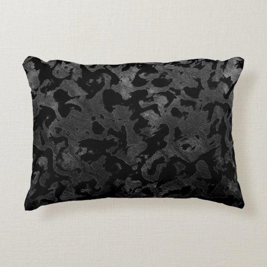 Modern Camo -Black and Dark Grey- camouflage Decorative Pillow