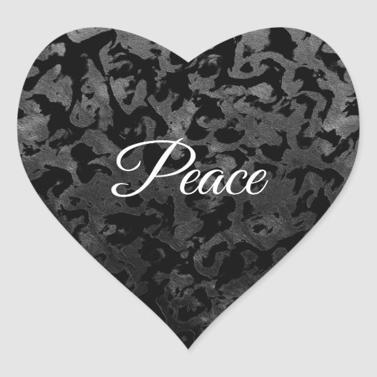 Modern Camo -Black and Dark Grey- camouflage Heart Sticker