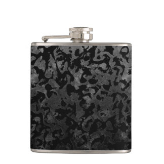 Modern Camo -Black and Dark Grey- camouflage Hip Flask