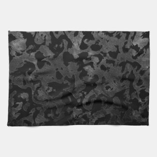 Modern Camo -Black and Dark Grey- camouflage Kitchen Towel
