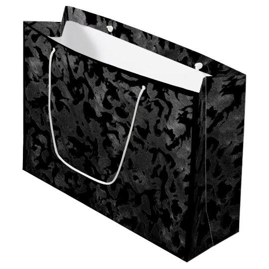 Modern Camo -Black and Dark Grey- camouflage Large Gift Bag