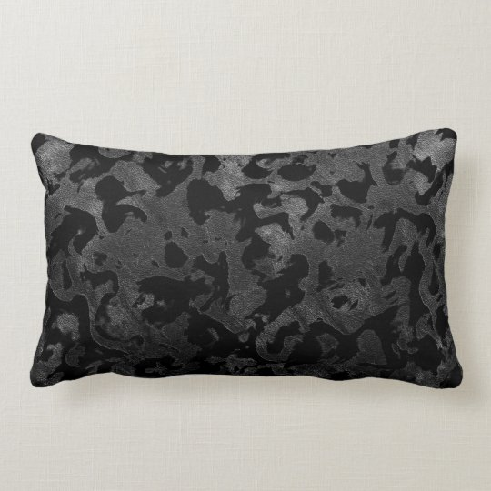 Modern Camo -Black and Dark Grey- camouflage Lumbar Pillow