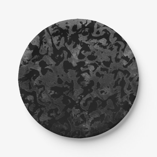 Modern Camo -Black and Dark Grey- camouflage Paper Plate