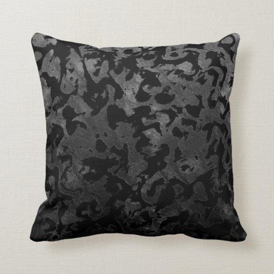Modern Camo -Black and Dark Grey- camouflage Throw Pillow