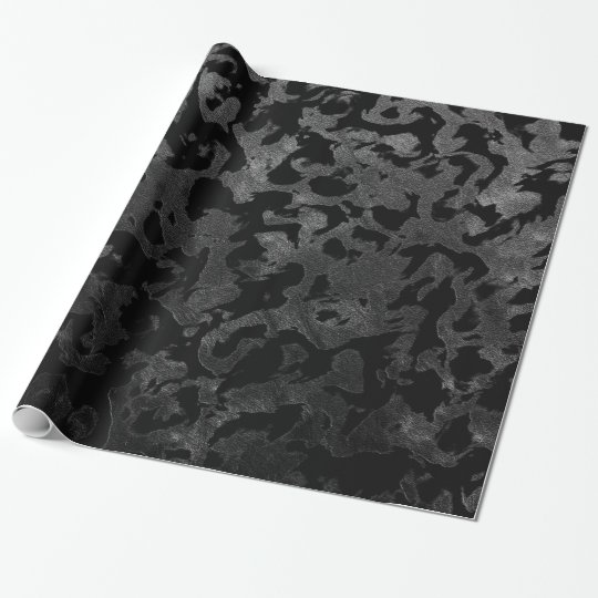 Modern Camo -Black and Dark Grey- camouflage Wrapping Paper