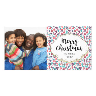Modern Candy Canes Stockings Christmas Photo Card