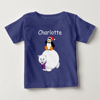 Modern cartoon of a penguin riding a polar bear, baby T-Shirt