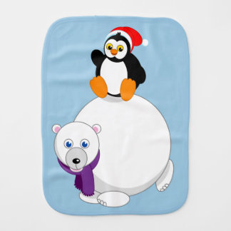 Modern cartoon of a penguin riding a polar bear, burp cloth