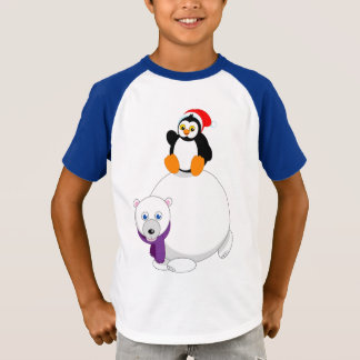 Modern cartoon of a penguin riding a polar bear, T-Shirt