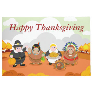 Modern cartoon of the First Thanksgiving 1621, Doormat