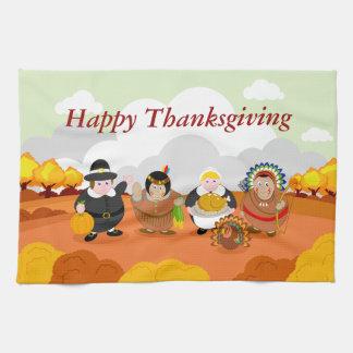 Modern cartoon of the First Thanksgiving 1621, Kitchen Towel