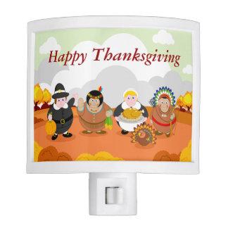 Modern cartoon of the First Thanksgiving 1621, Night Lite