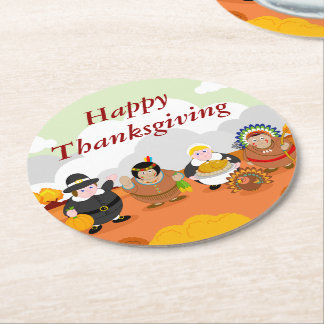 Modern cartoon of the First Thanksgiving 1621, Round Paper Coaster