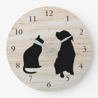 Modern cat dog  silhouettes pets wooden background large clock