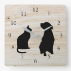 Modern cat dog  silhouettes pets wooden background square wall clock