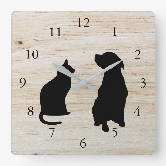 Modern cat dog  silhouettes pets wooden background wall clocks