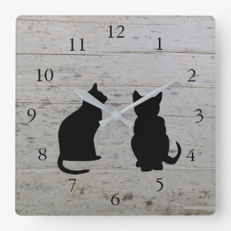 Modern cat silhouettes, pets on driftwood square wall clock