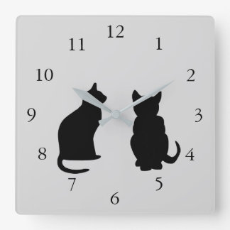 Modern cat silhouettes, pets on  gray background square wall clock