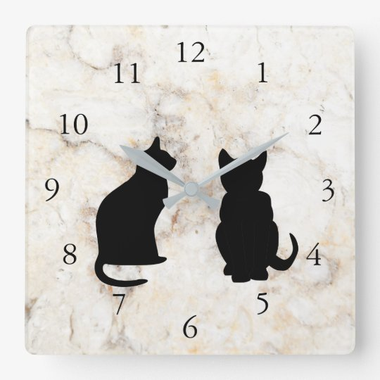 Modern cat silhouettes, pets on marble background square wall clock