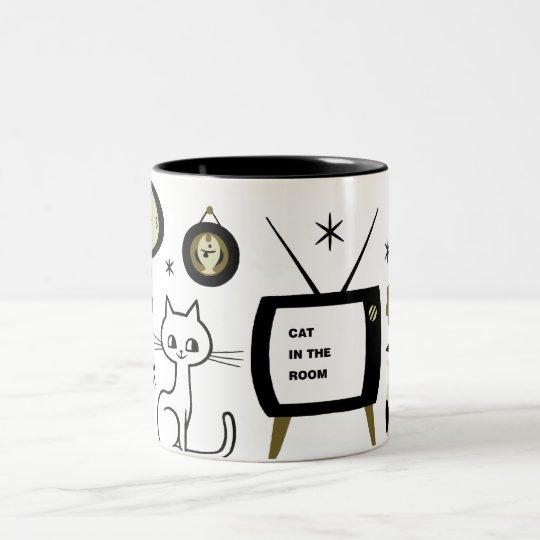 Modern cat Two-Tone coffee mug