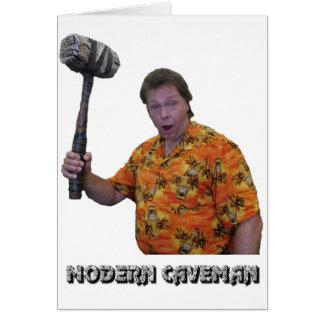 Modern Caveman Greeting Card
