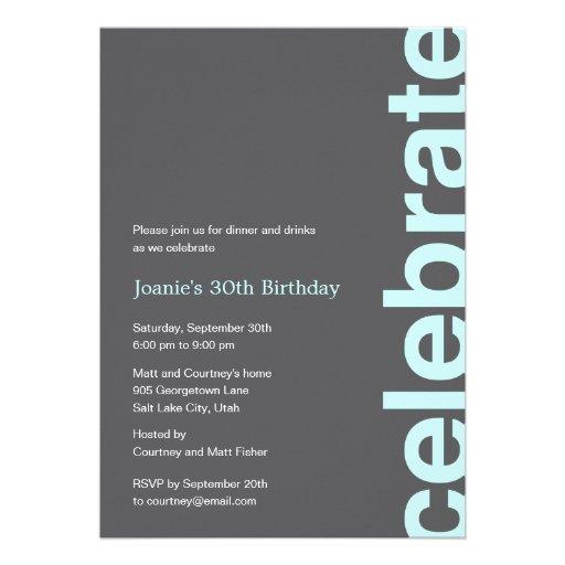Modern Celebration Party Invitation - Turquoise Custom Invites