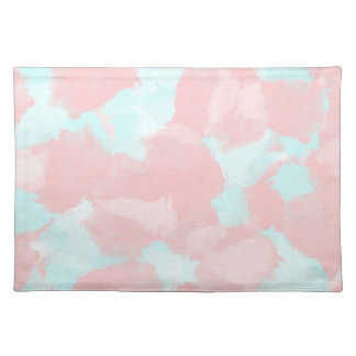 Modern cerulean and pink brush tones placemat