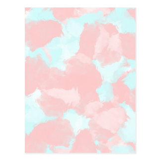 Modern cerulean and pink brush tones postcard