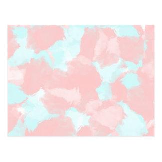 Modern cerulean and pink brush tones postcard