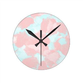 Modern cerulean and pink brush tones round clock