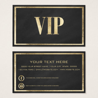 Modern chalk black faux gold VIP card club member