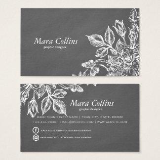 Modern chalk gray white floral graphic designer business card