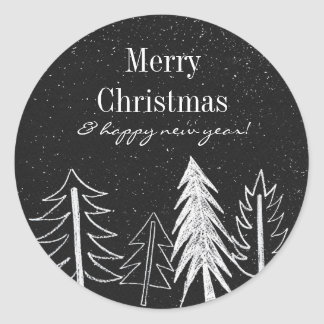 Modern Chalk Snowy Trees Holiday Classic Round Sticker
