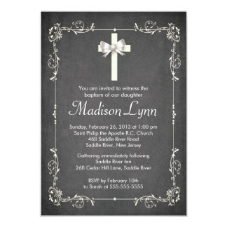 Modern Chalkboard Baptism Christening Cross Card