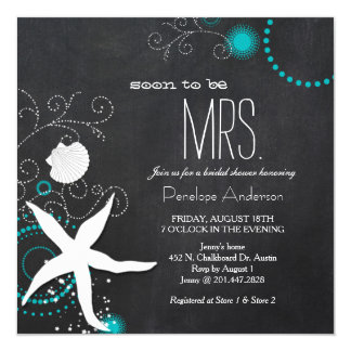 "Modern Chalkboard Beach Wedding Bridal Shower 5.25"" Square Invitation Card"