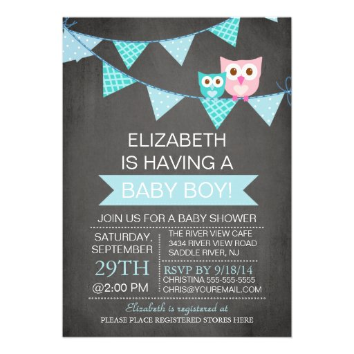 Modern Chalkboard Bunting Owl Boy Baby Shower Personalized Invite